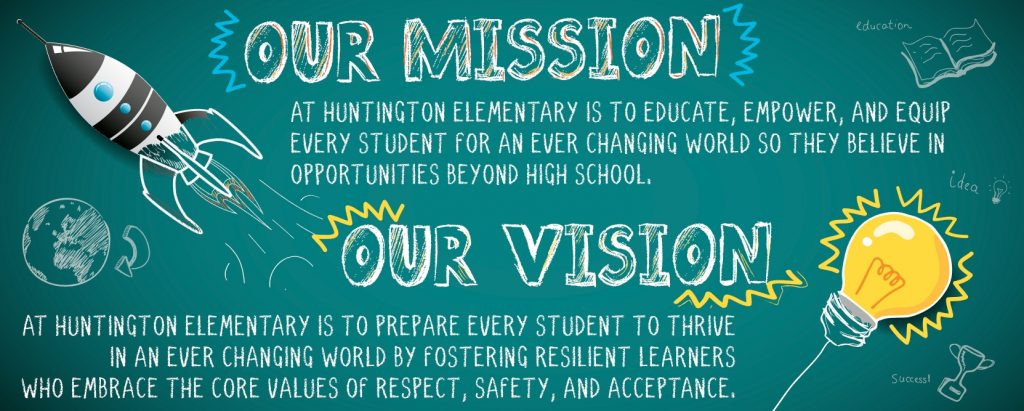 Our Mission at Huntington Elementary is to educate, empower, and equip every student for an ever changing world so they believe in opportunities beyond high school. Our Vision at Huntington Elementary is to prepare every student to thrive in an ever changing world by fostering resilient learners who embrace the core values of respect, safety, and acceptance.